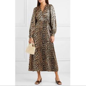 GANNI LEOPARD Animal PRINT Silk Midi Dress